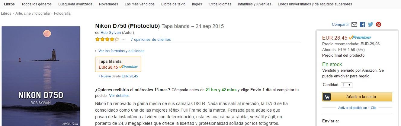 Ficha de producto de un libro en donde se muestra un descuento de la plataforma ecommerce Amazon España para ilustrar el artículo del blog de Niri Rodríguez fotógrafa de producto en Pontevedra