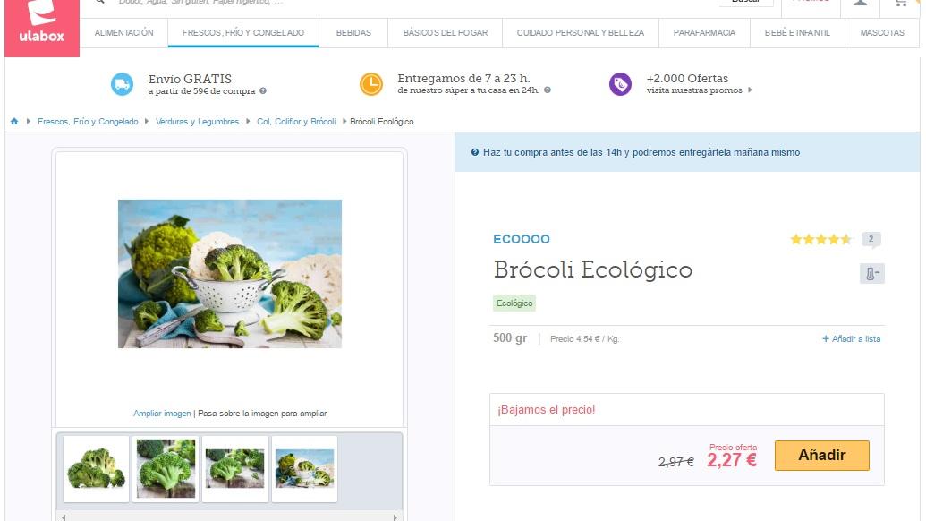 Ficha de producto del supermercado online Ulabox para ilustrar el artículo del blog de Niri Rodríguez fotógrafa de producto en Pontevedra