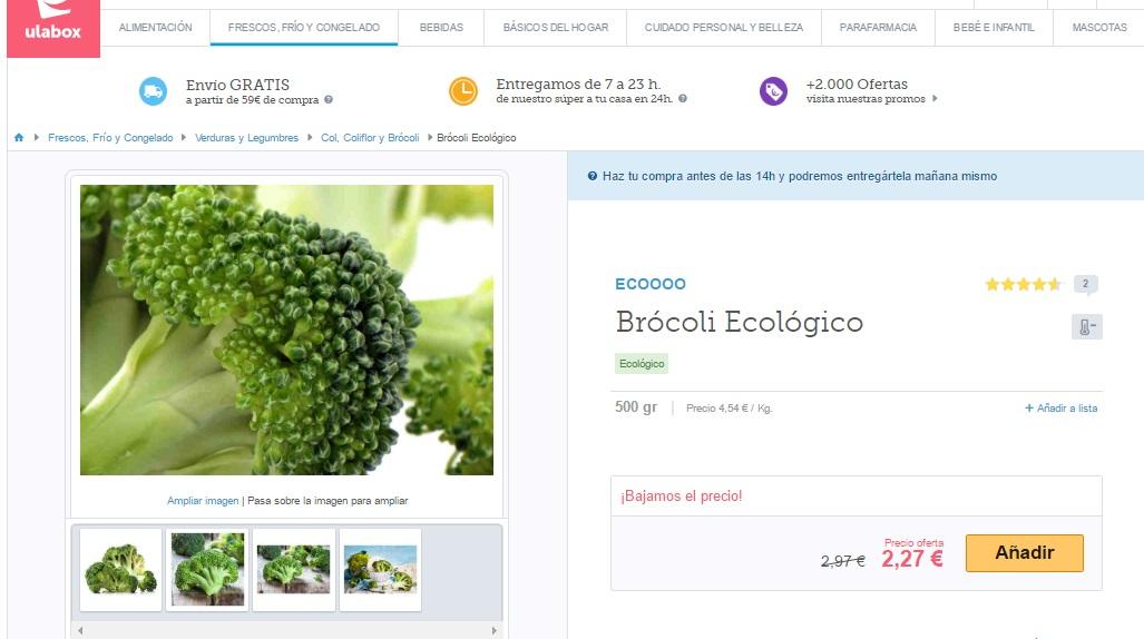 Ficha de producto con la imagen ampliada del supermercado online Ulabox para ilustrar el artículo del blog de Niri Rodríguez fotógrafa de producto en Pontevedra