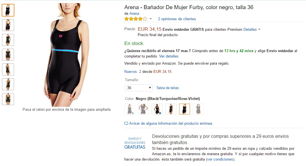 Ficha de producto de un bañador en donde se muestra el tipo de envío, la devolución y si se puede envolver para regaldo en la plataforma ecommerce Amazon España para ilustrar el artículo del blog de Niri Rodríguez fotógrafa de producto en Pontevedra