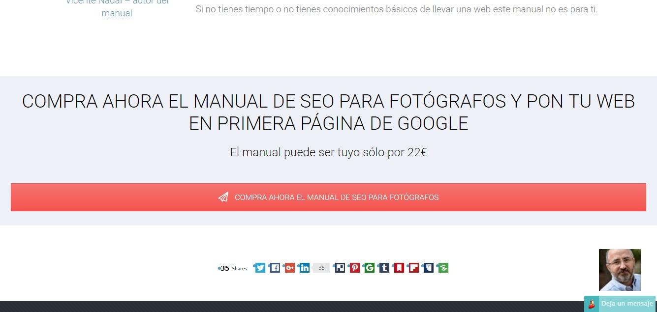 Ficha de producto de un manual en donde se ve claramente la llamada a la acción de la página web Marketing para fotógrafos para ilustrar el artículo del blog de Niri Rodríguez fotógrafa de producto en Pontevedra