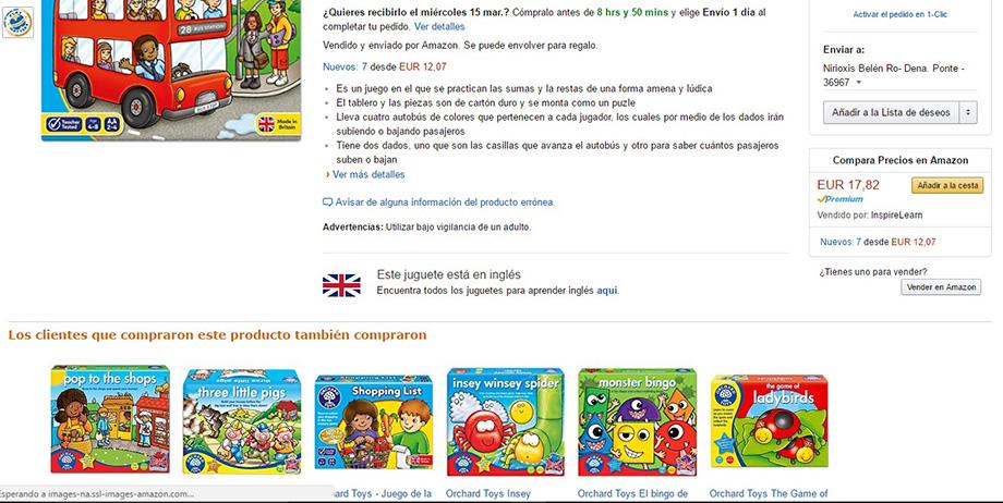 Ficha de producto de un juego infantil en donde se muestra la venta cruzada con otros artículos similares en la plataforma ecommerce Amazon España para ilustrar el artículo del blog de Niri Rodríguez fotógrafa de producto en Pontevedra